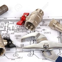 11330949-Plumbing-parts-and-tools-for-drawing-closeup-Stock-Photo